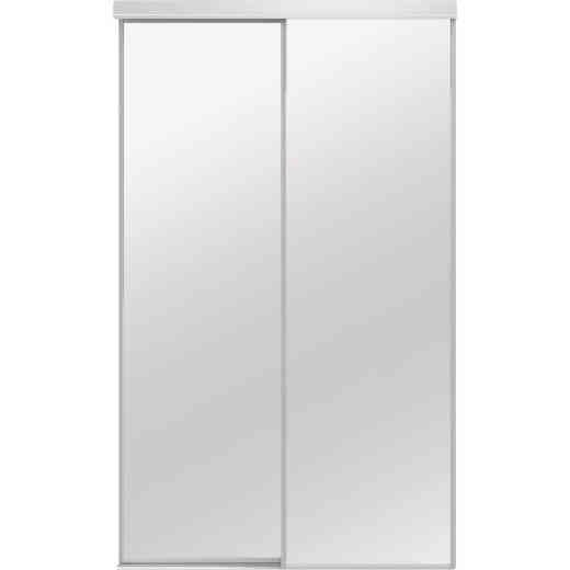Colonial Elegance Classic 72 In. W x 80-1/2 In. H White Framed Mirrored Sliding Bypass Door