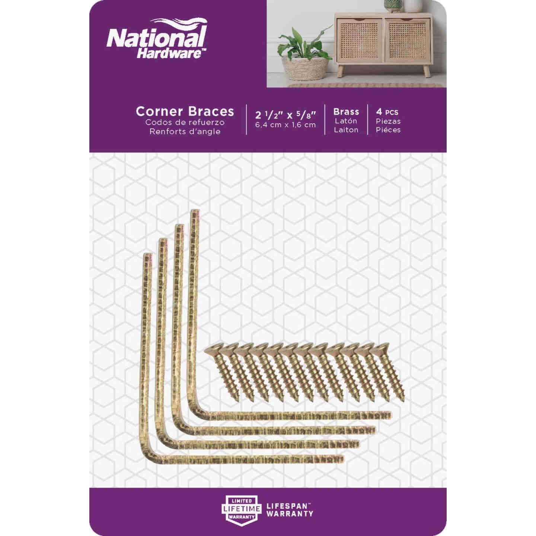 National Catalog V115 2-1/2 In. x 5/8 In. Brass Steel Corner Brace (4-Count) Image 2