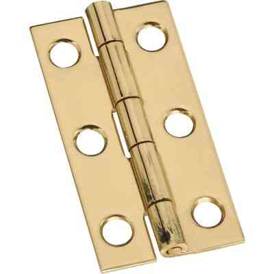 National 1 In. x 2 In. Brass Narrow Decorative Hinge (2-Pack)