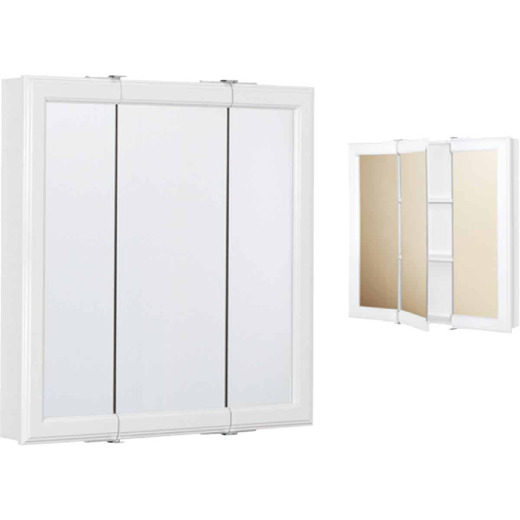 Continental Cabinets White 30 In. W x 28-3/4 In. H x 4-1/2 In. D Tri-View Surface Mount Medicine Cabinet