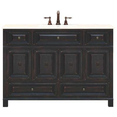 Sunny Wood Barton Hill Black Onyx 48 In. W x 34 In. H x 21 In. D Vanity Base, 4 Door/4 Drawer