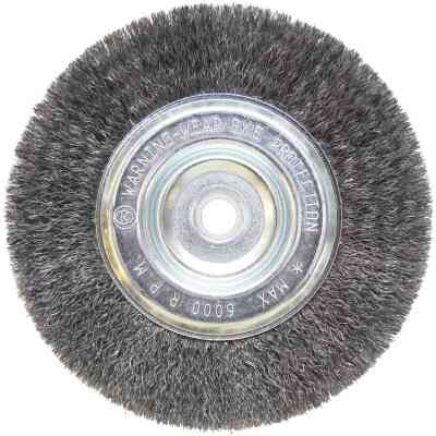 Weiler Vortec 6 In. Crimped, Fine 5/8 Bench Grinder Wire Wheel