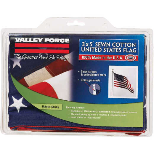 Valley Forge 3 Ft. x 5 Ft. Cotton Natural Series American Flag